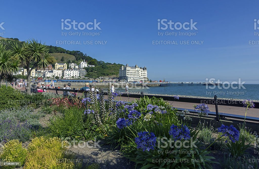 People On Promenade Llandudno stock photo
