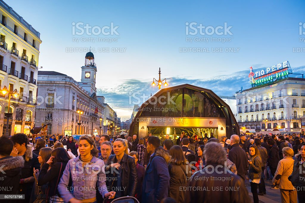 People on Puerta del Sol square, Madrid, Spain. stock photo