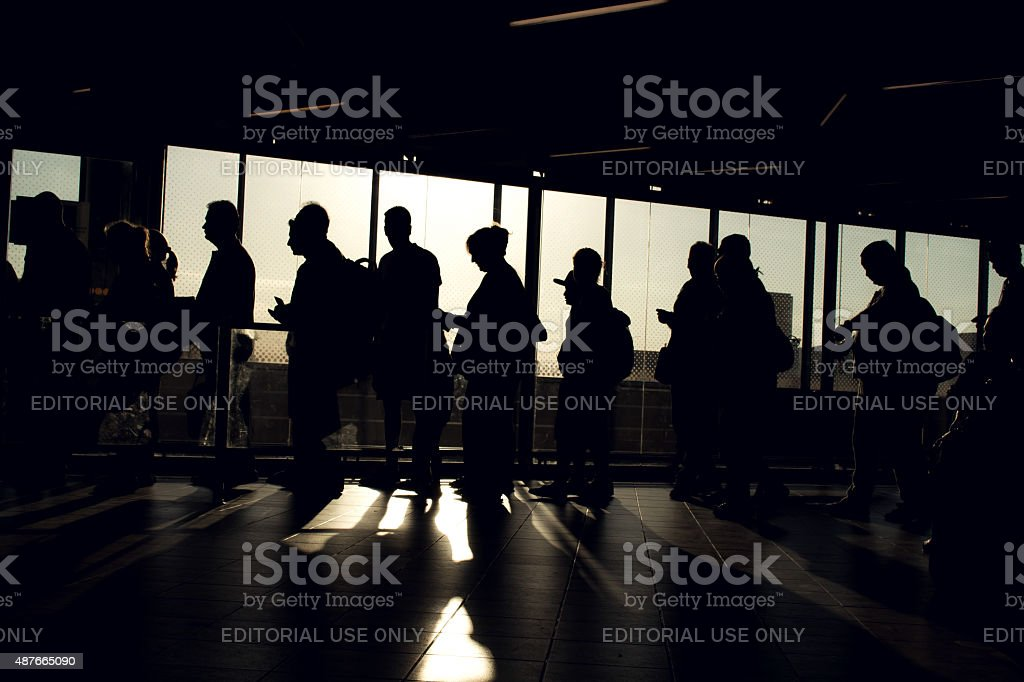 People on queue with silhouette stock photo