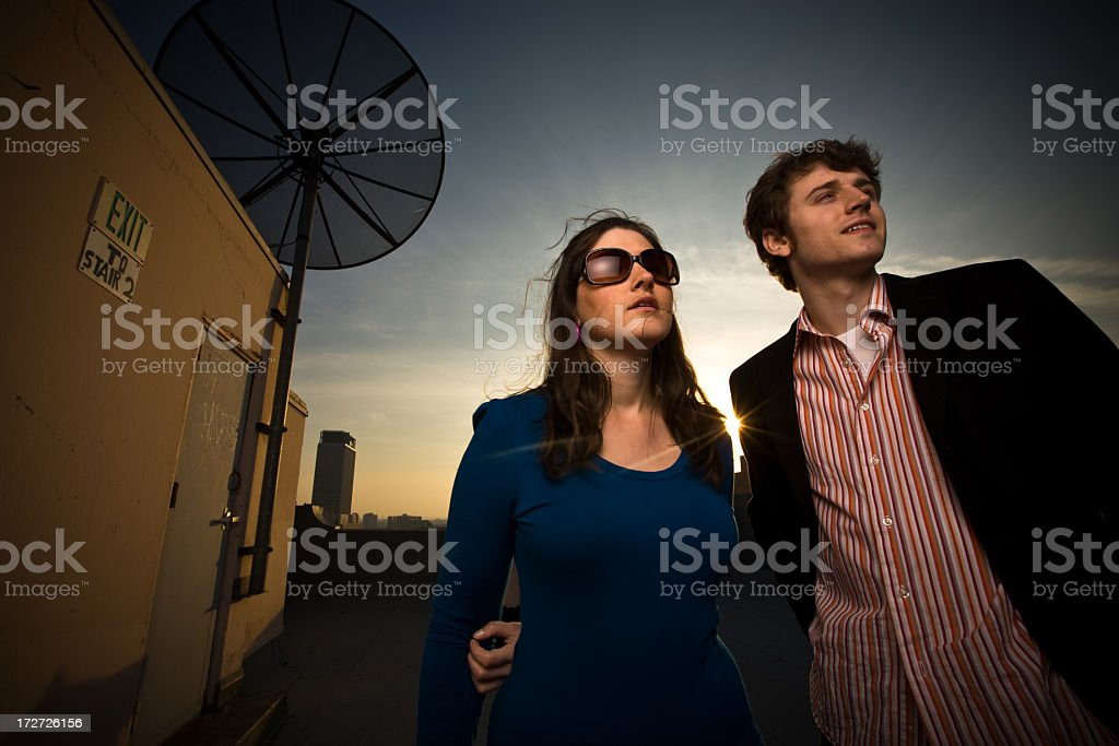 People on Rooftop royalty-free stock photo