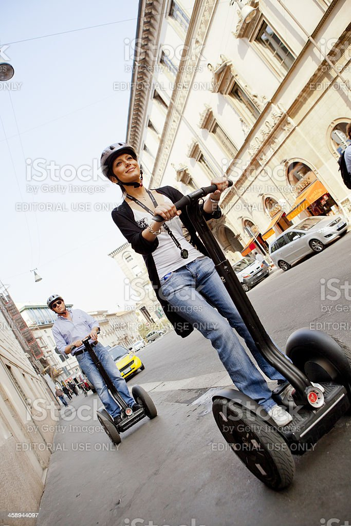 People On Segways in Milan City Centre stock photo