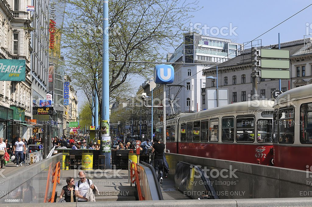 people on Shopping street Mariahilfer Strasse in Vienna (Austria) stock photo