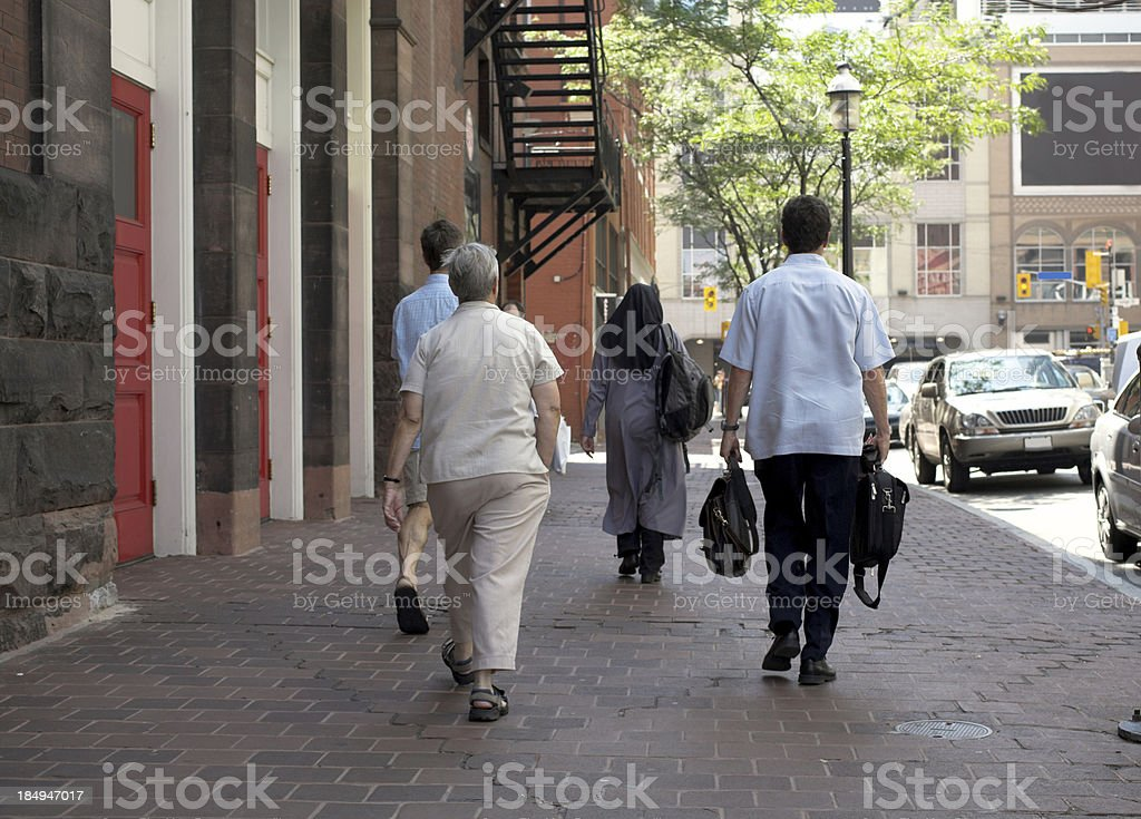 people on sidewalk royalty-free stock photo