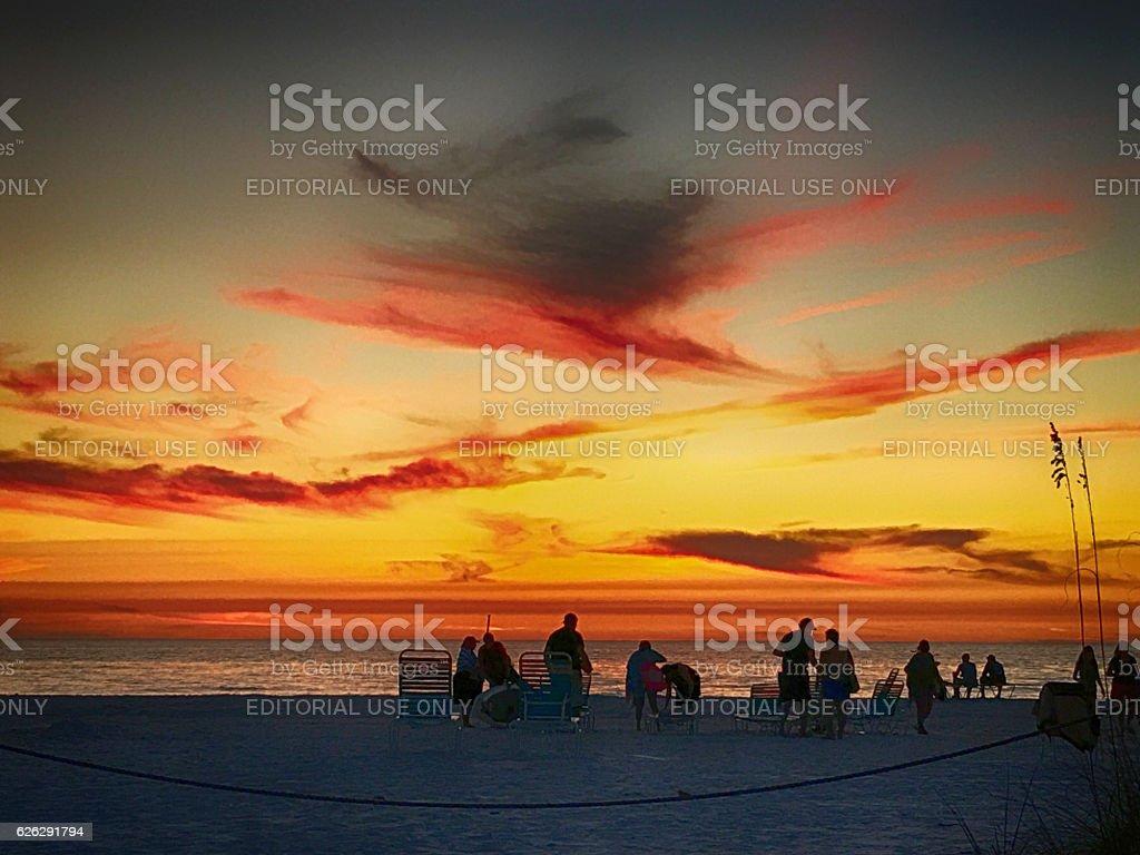 People on Siesta Key beach at sunset in Sarasota, Florida stock photo