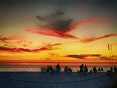 People on Siesta Key beach at sunset in Sarasota, Florida