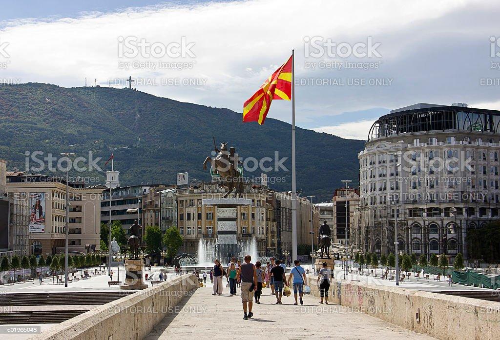 People on Skopje Square stock photo