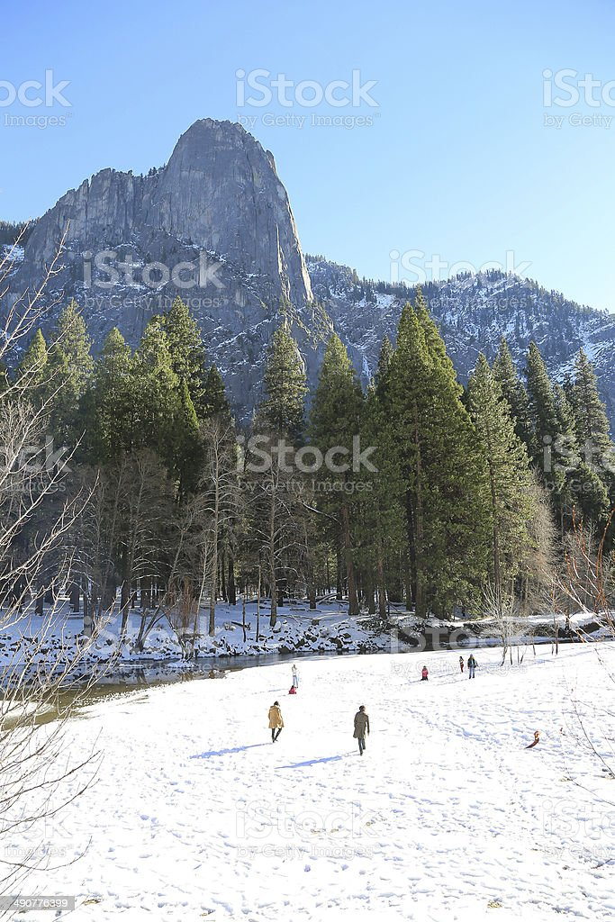 People on snow in Yosemite National Park royalty-free stock photo