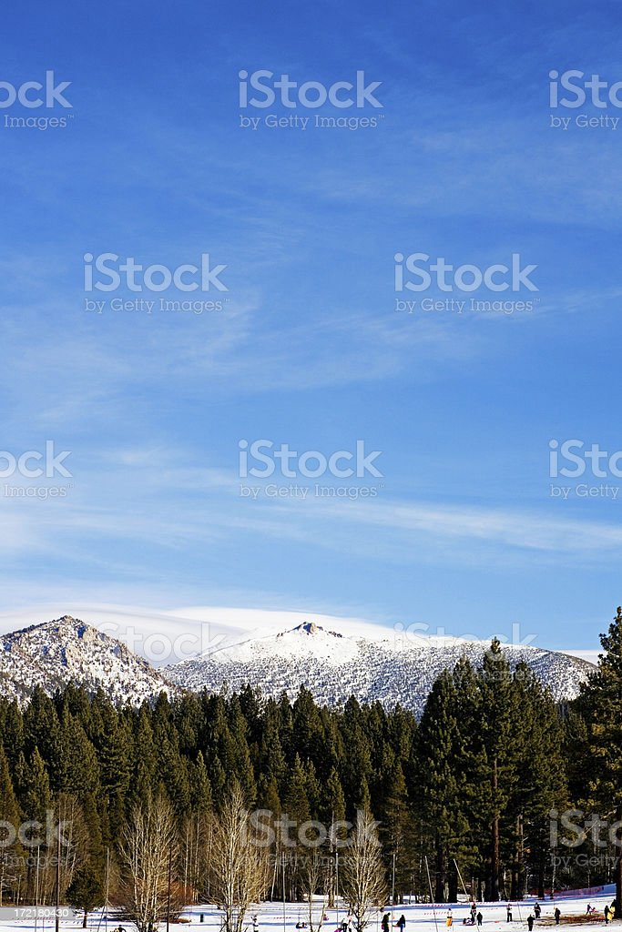 People on Snow Mountain Range and Trees royalty-free stock photo
