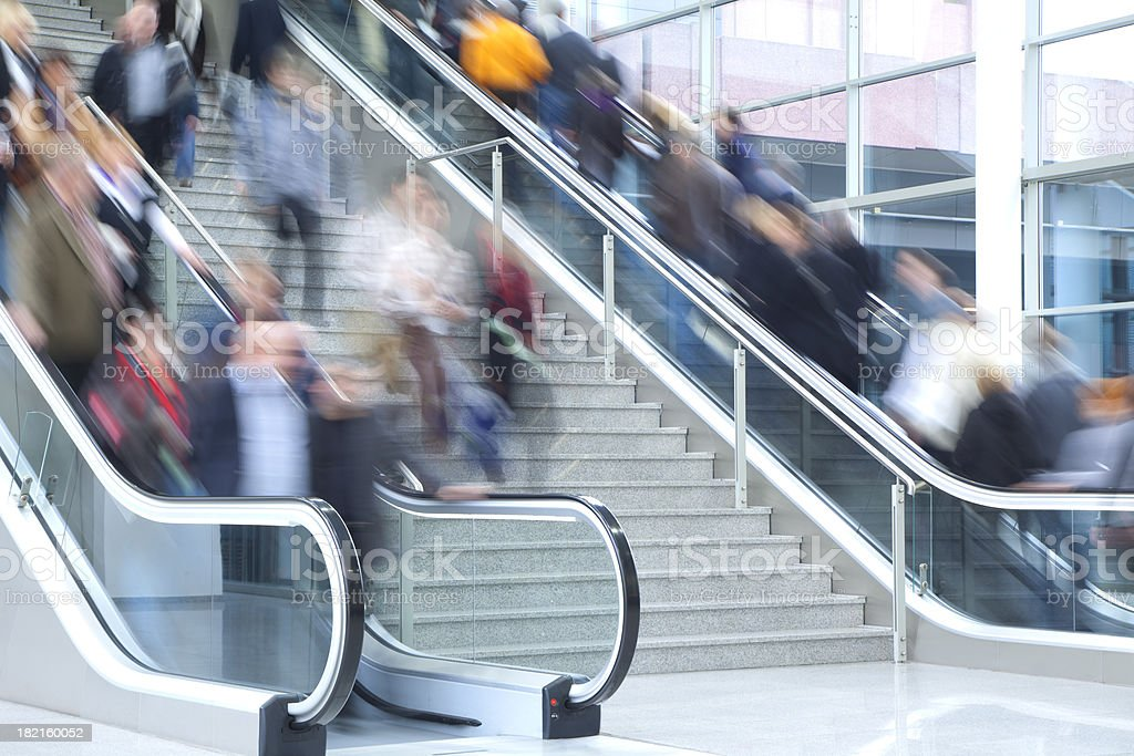 People on Stairs and Escalators, Blurred Motion royalty-free stock photo