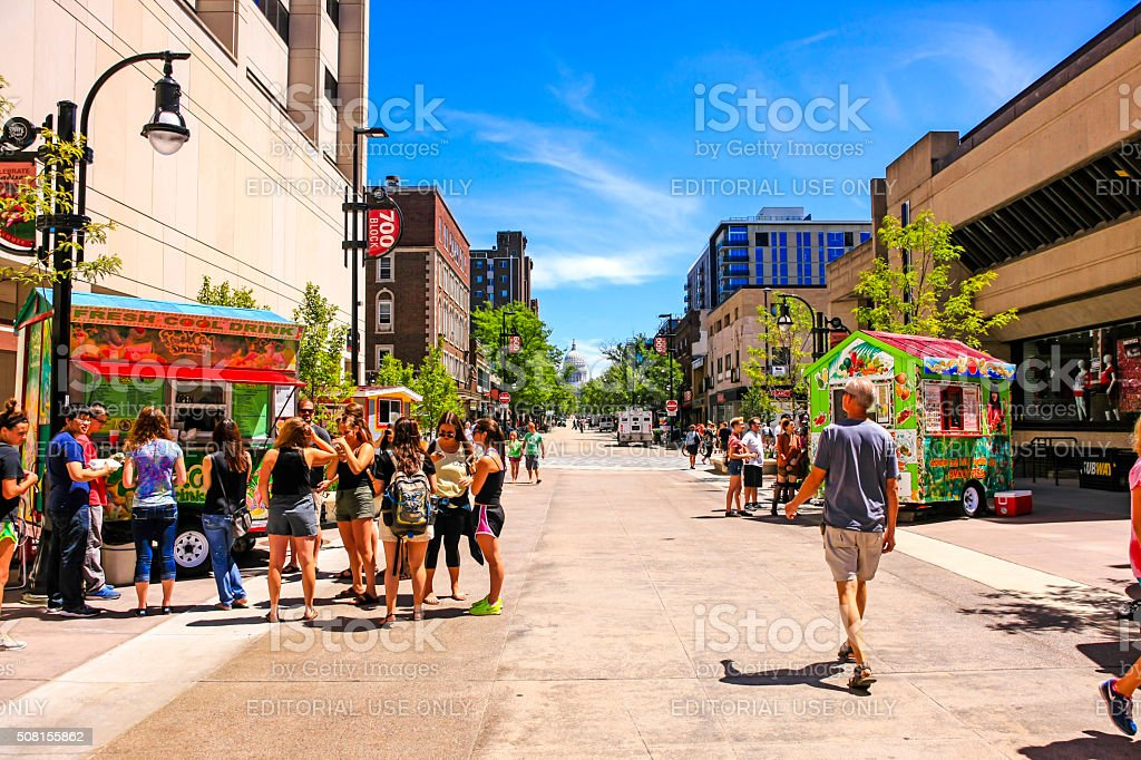 People on State Street in Madison Wisconsin stock photo