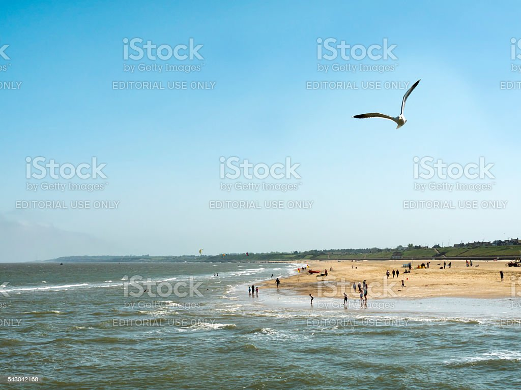 People on the beach at Gorleston-on-Sea stock photo