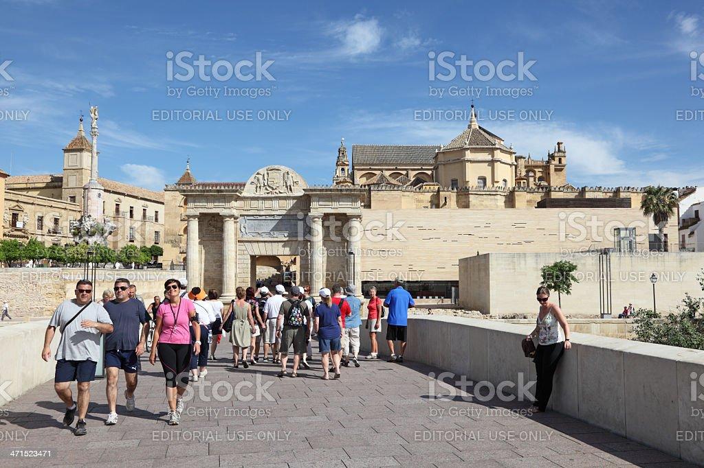 People on the bridge, Cordoba Spain royalty-free stock photo