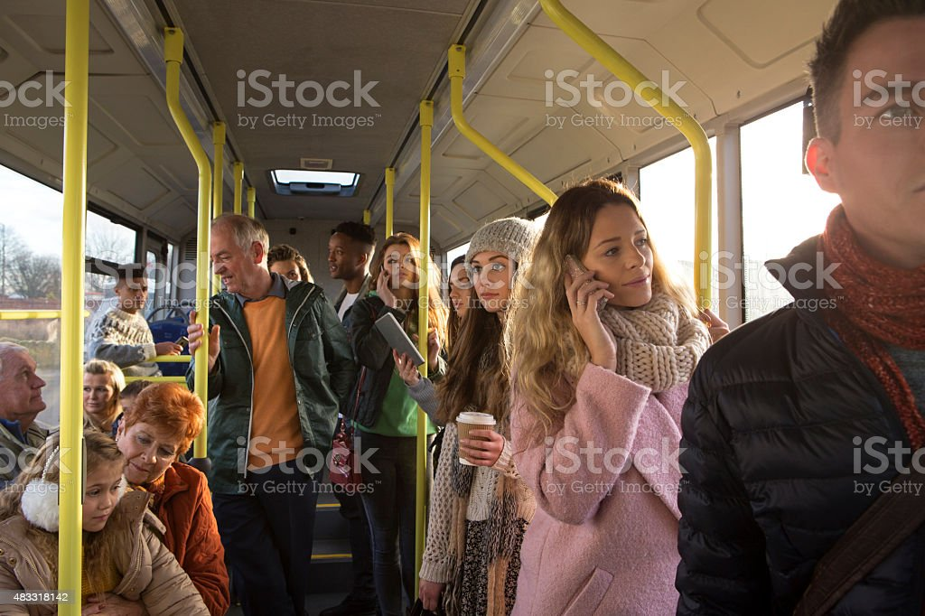 People on the bus stock photo