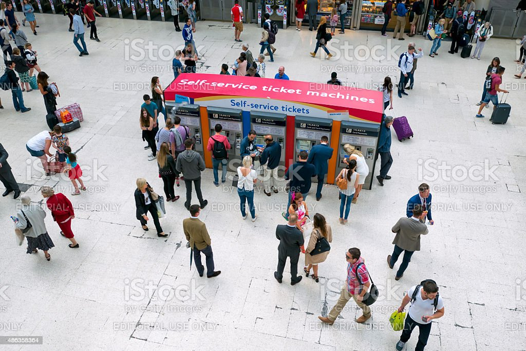 People on the concourse at Waterloo Station, London stock photo