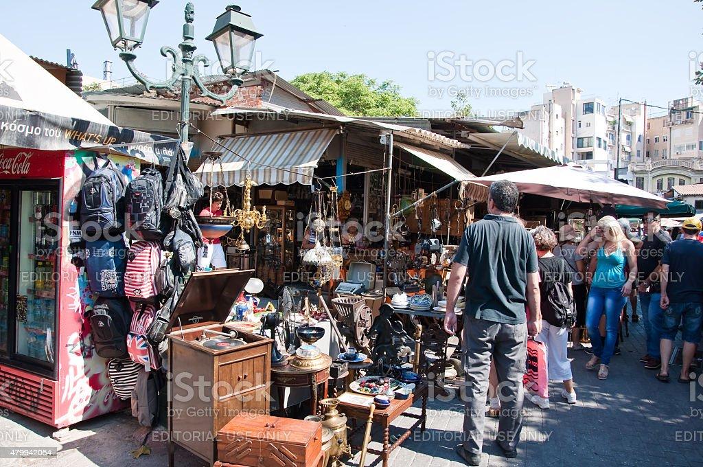 People on the flea market in Monastiraki in Athens, Greece. stock photo