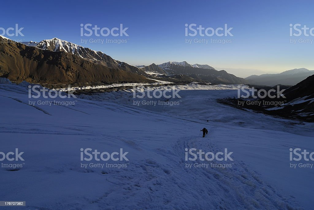 People on the glacier trail royalty-free stock photo