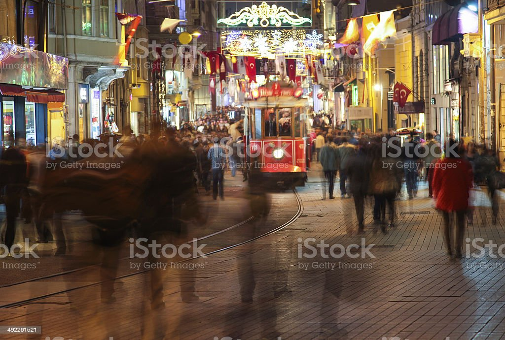 People on the Istiklal Street at Night stock photo