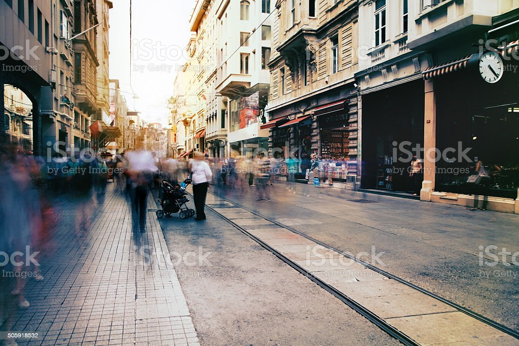 People on the Istiklal Street stock photo