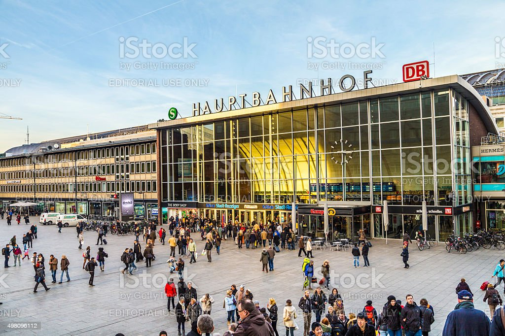 people on the main train station in Cologne in Germany stock photo