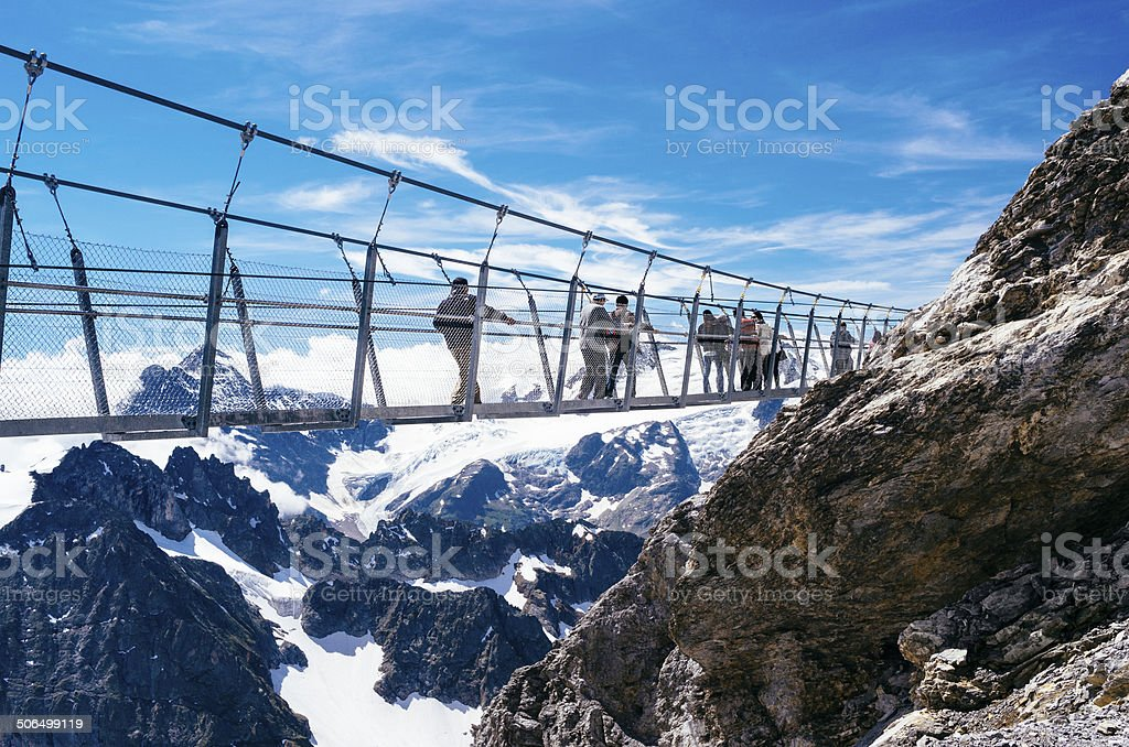 People on the Mount Titlis walkway Switzerland stock photo