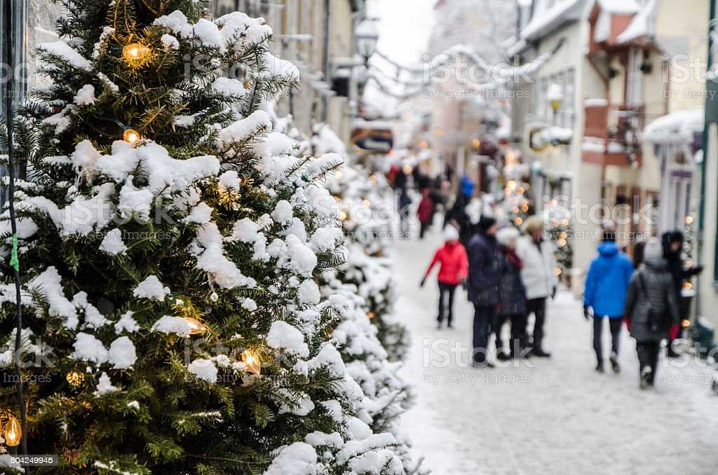 People on the Petit Champlain street in Quebec city stock photo
