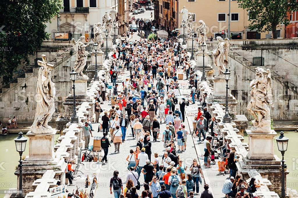People on the Ponte Sant'Angelo in Rome stock photo