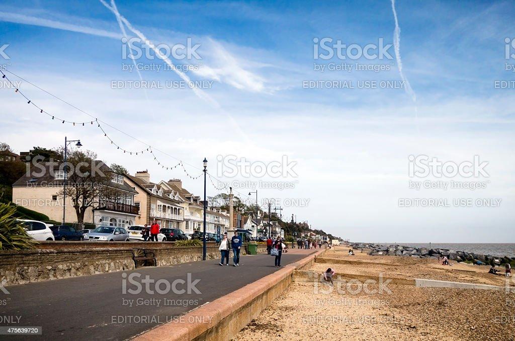 People on the promenade at Felixstowe, Suffolk stock photo