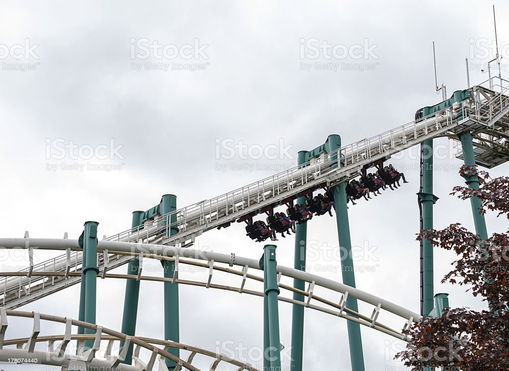 people on the roller coaster royalty-free stock photo
