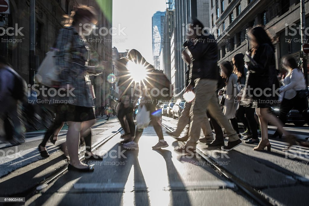 People on the street crossing in Toronto, Canada stock photo