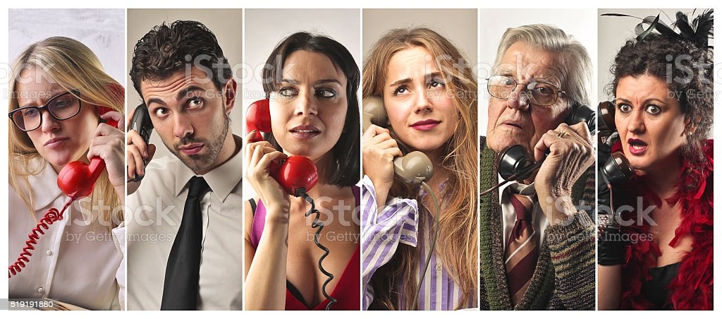 People on the telephone stock photo