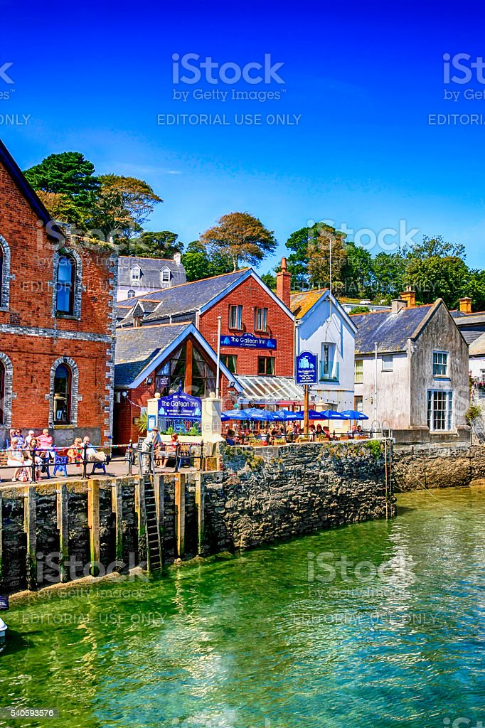 People on the Waterfront at Fowey, UK stock photo