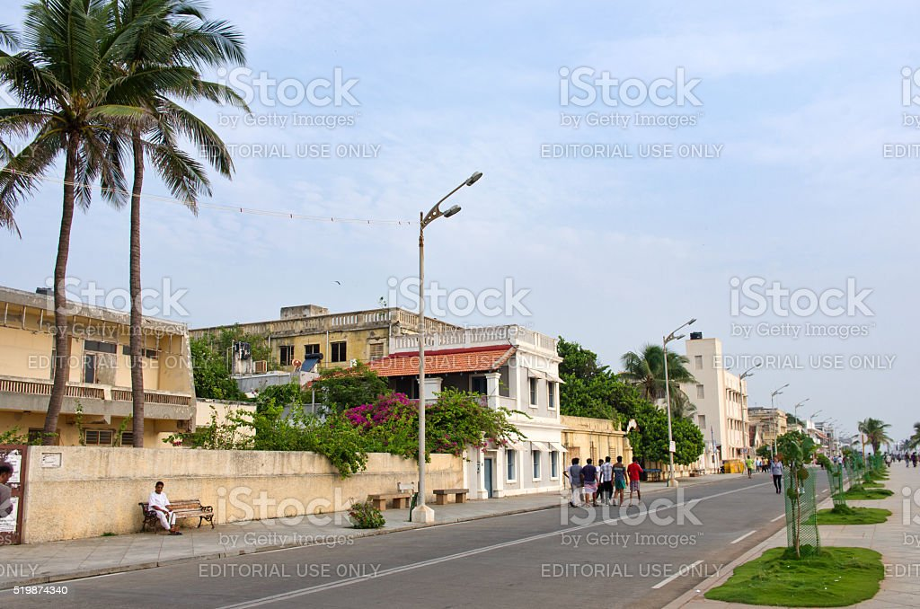People on the waterfront  in Pondicherry, India stock photo
