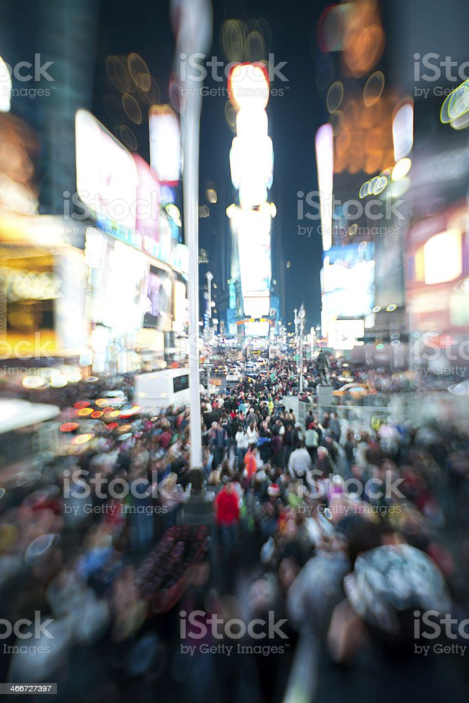 People on Time Square at night royalty-free stock photo