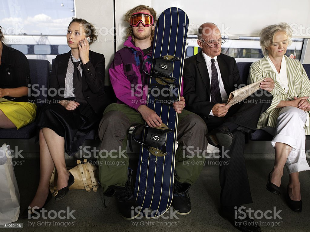 People on train stock photo