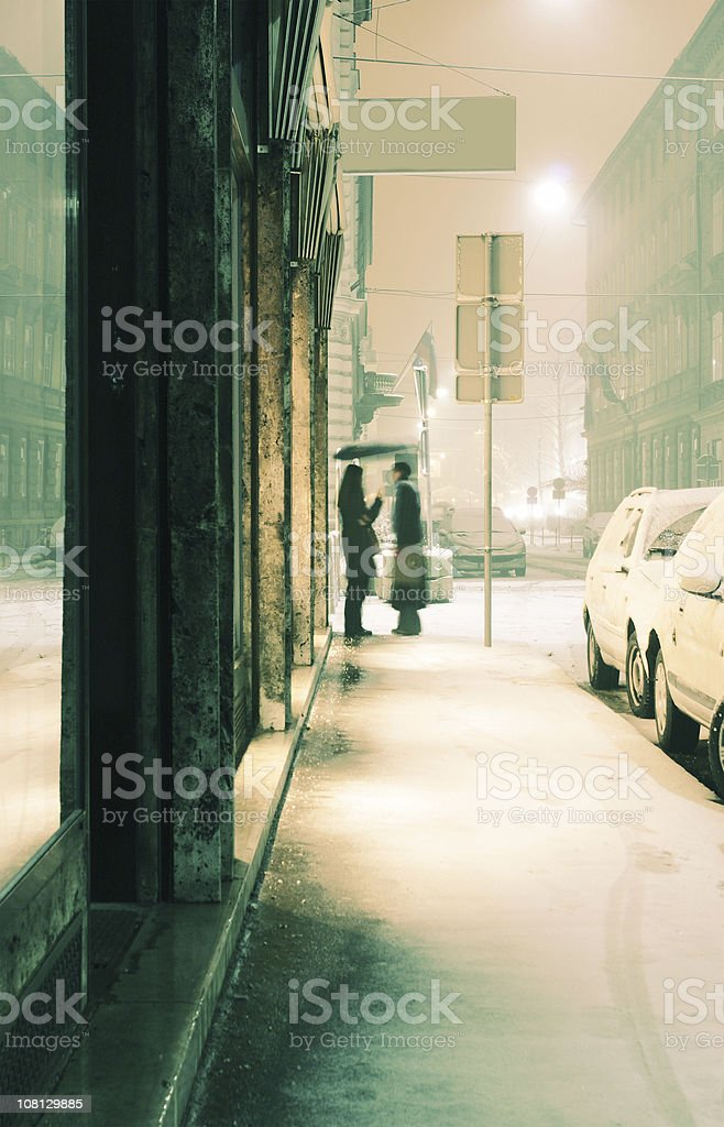 People on Urban Street During Snowstorm royalty-free stock photo