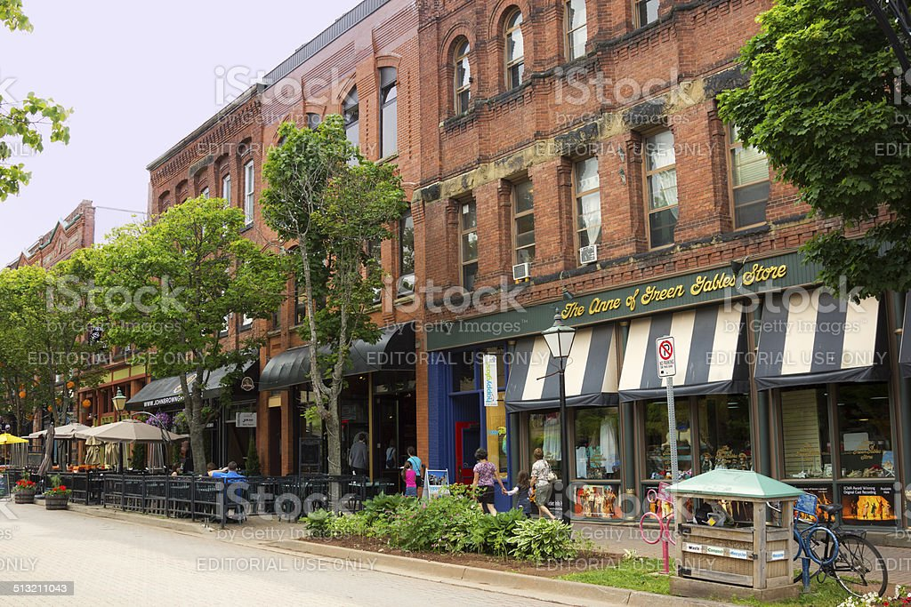 People on Victoria Row in Charlottetown in Prince Edward Island stock photo