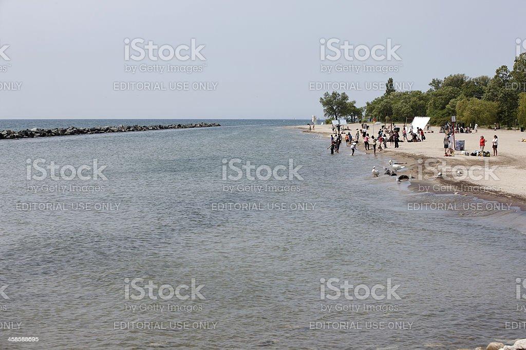 People on white sandy beach royalty-free stock photo