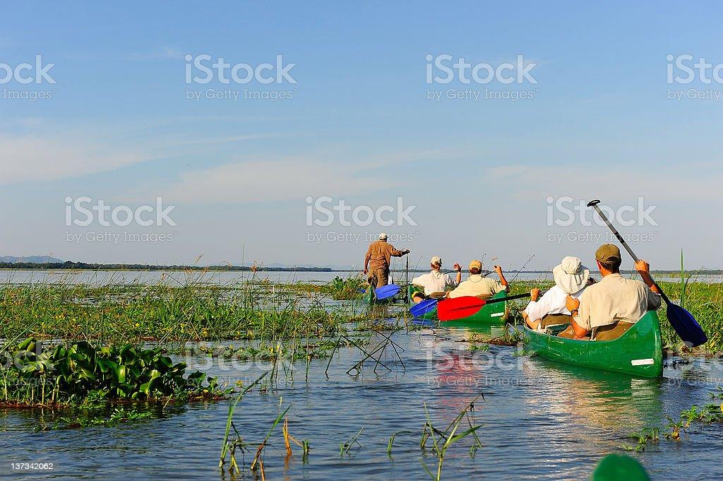 People on Zambezi River Canoe Trip, Zimbabwe stock photo