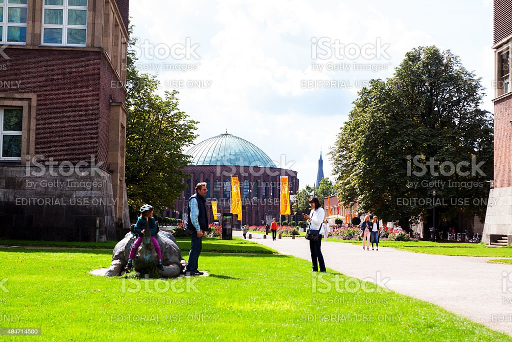 People outside of museum Kunstpalast and Tonhalle stock photo