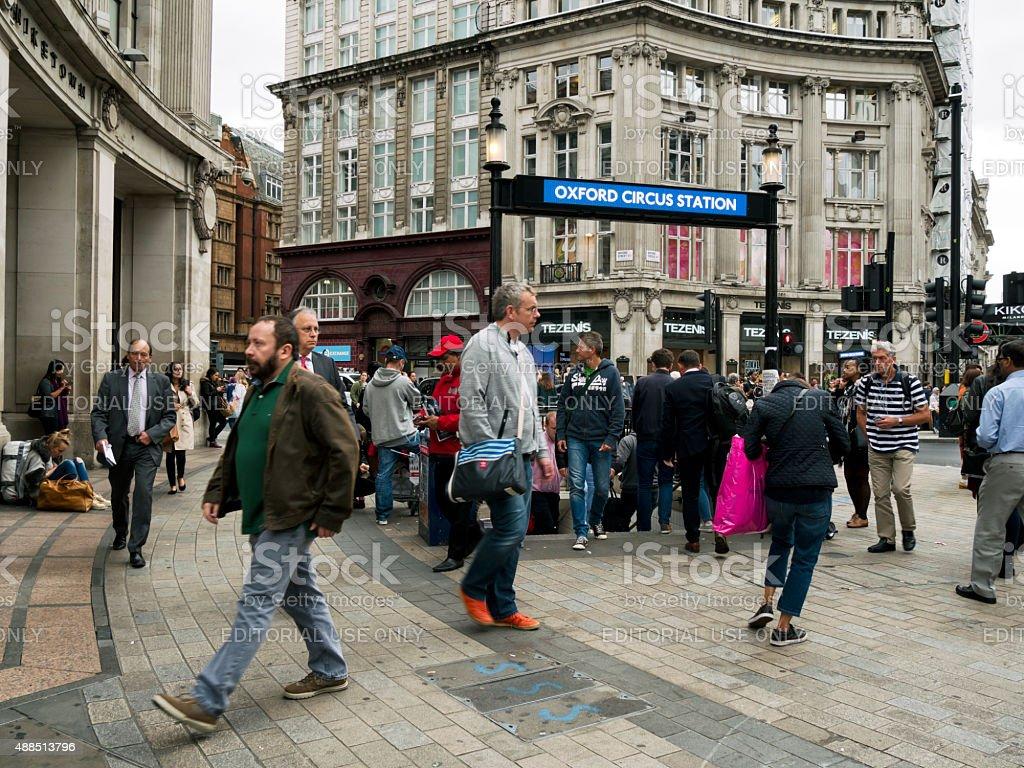 People outside Oxford Street Underground Station stock photo