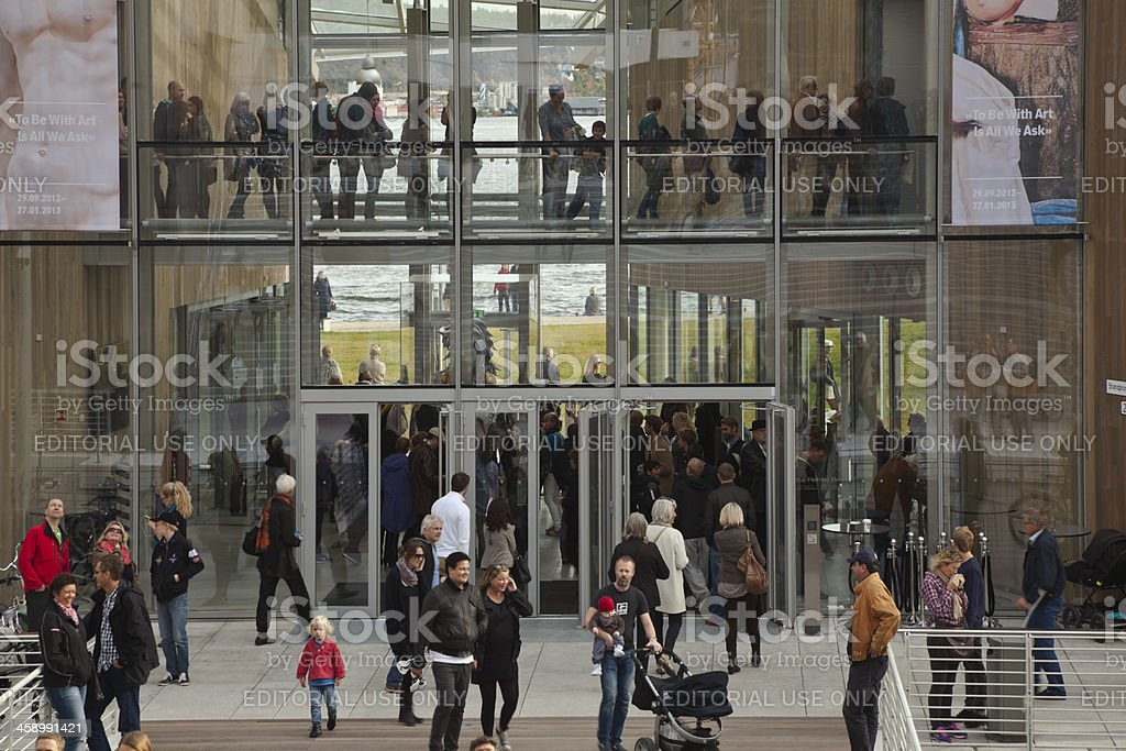 People outside  the Astrup Fearnley Museum. royalty-free stock photo
