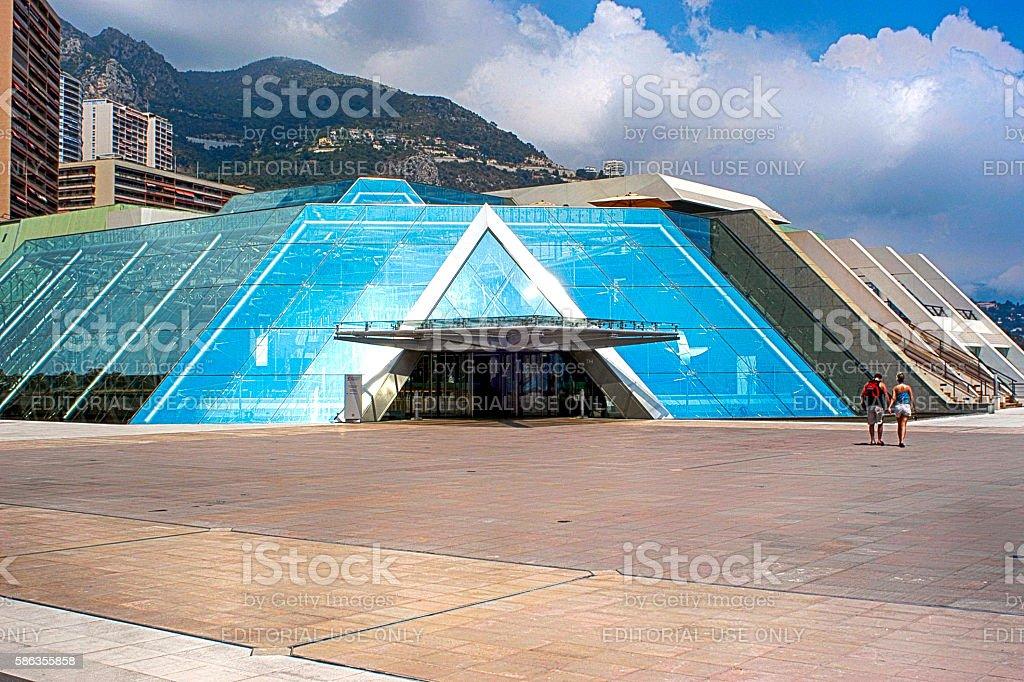 People outside the Grimaldi forum Centre in Monte carlo, Monaco stock photo