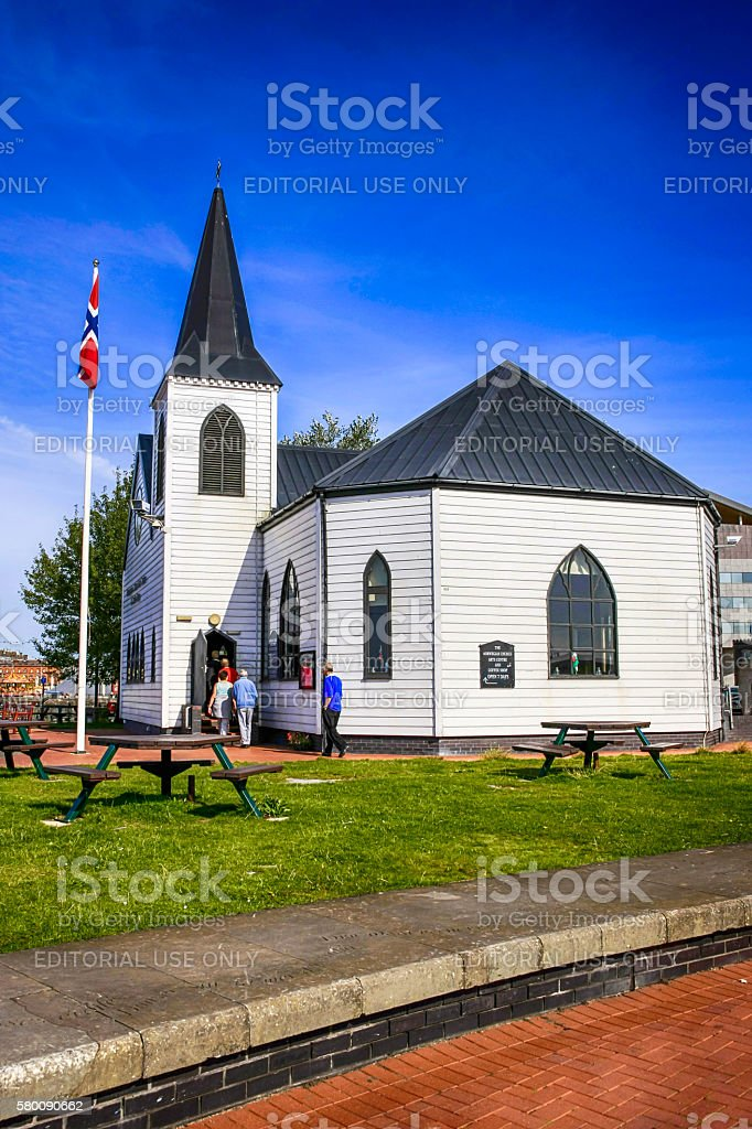 People outside the Norwegian Church in Cardiff, UK stock photo