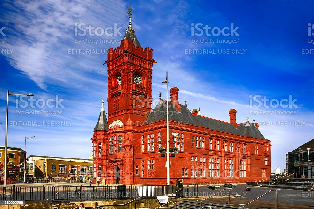 People outside the red-brick Pierhead building in Cardiff, UK stock photo