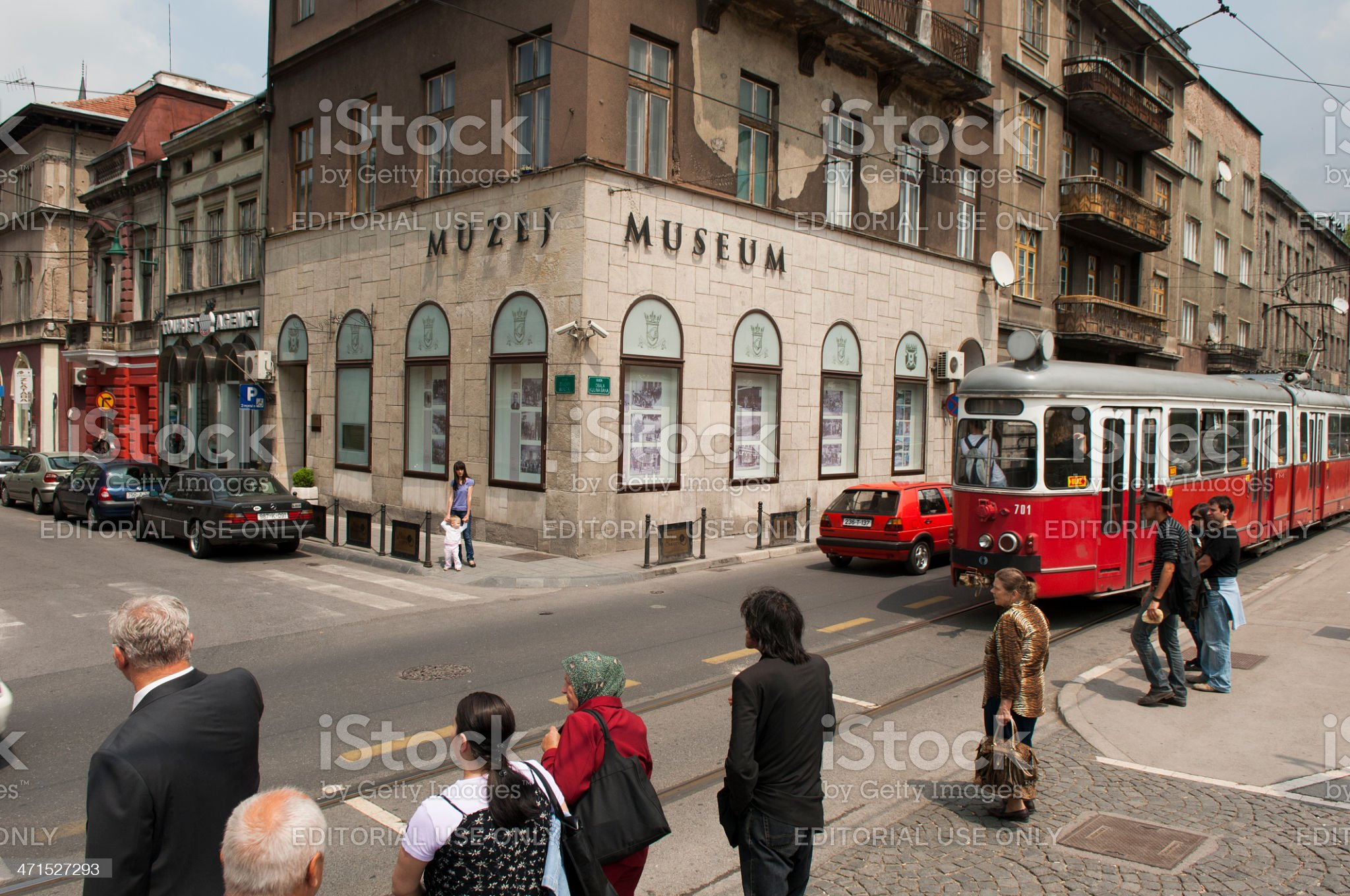 people outside the sarajevo museum royalty-free stock photo