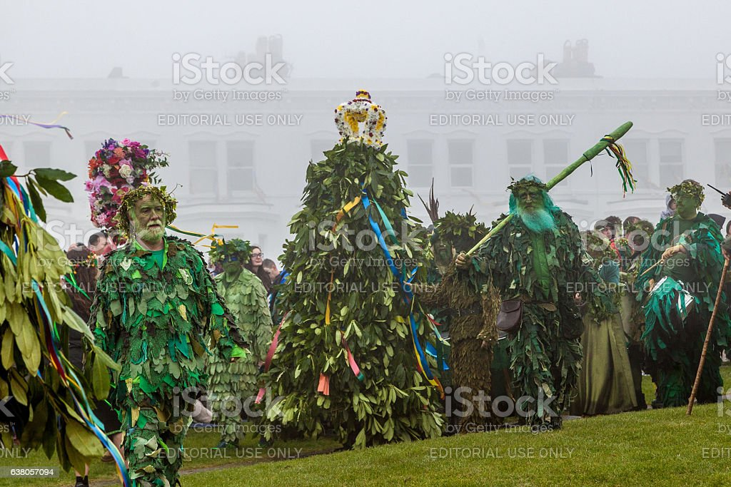 People parade at Hastings' annual Jack-in-the-Green Festival, May 2016 stock photo