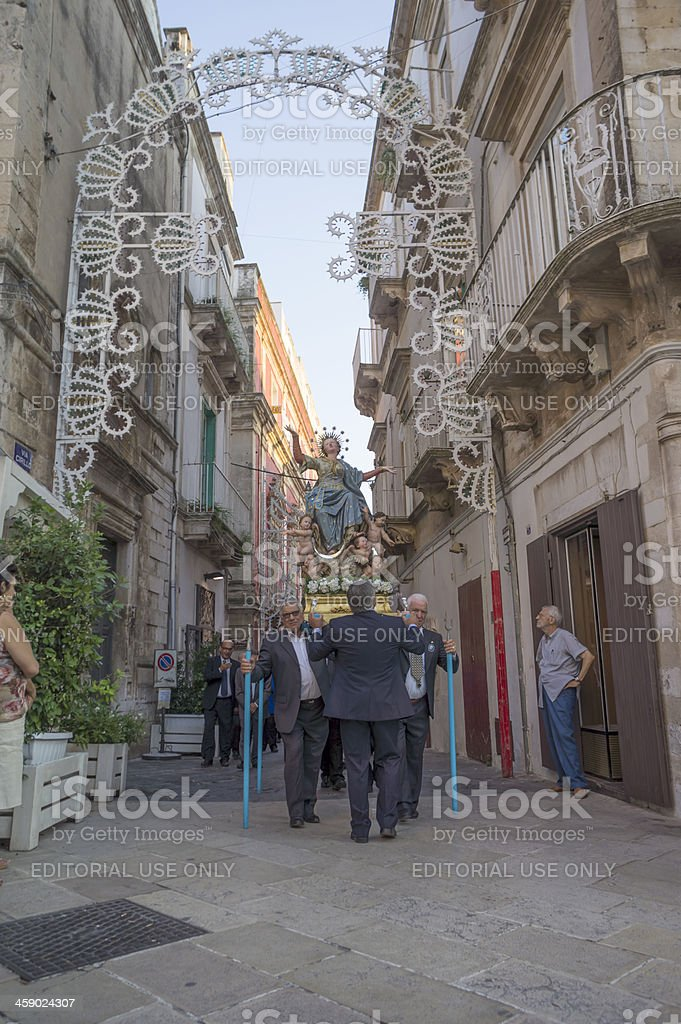 """People parading at """"Our Lady of Assumption"""" procession royalty-free stock photo"""
