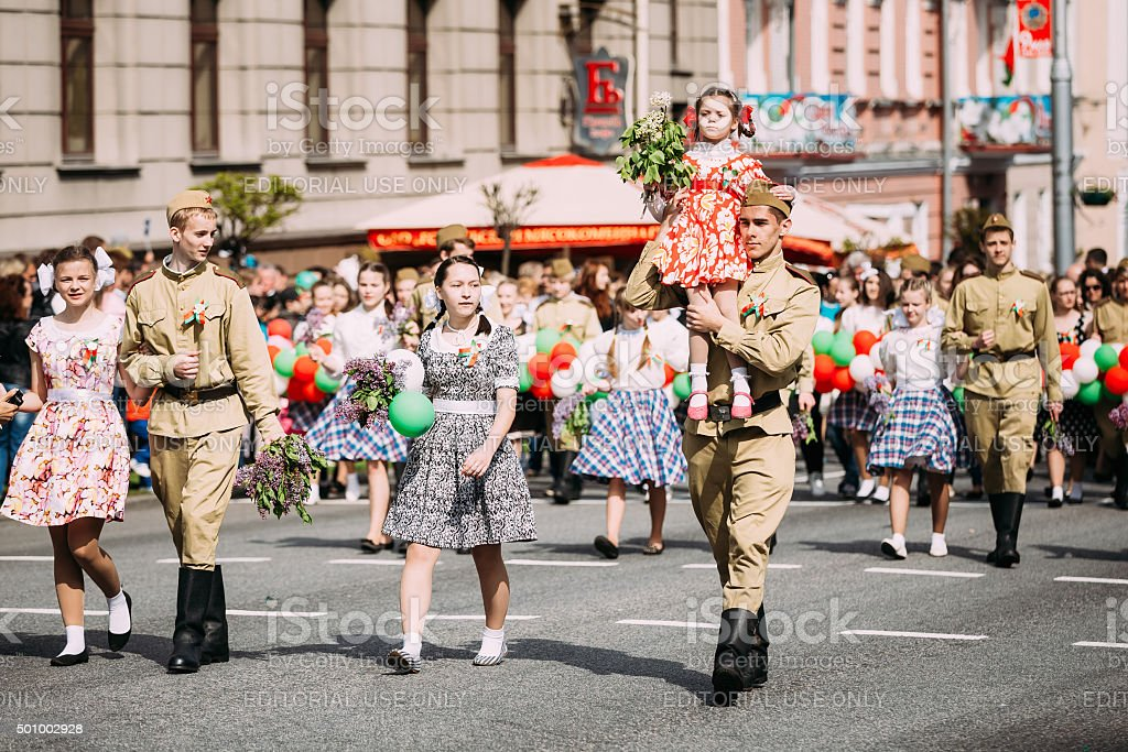 People participating in the parade dedicated to the Victory Day stock photo
