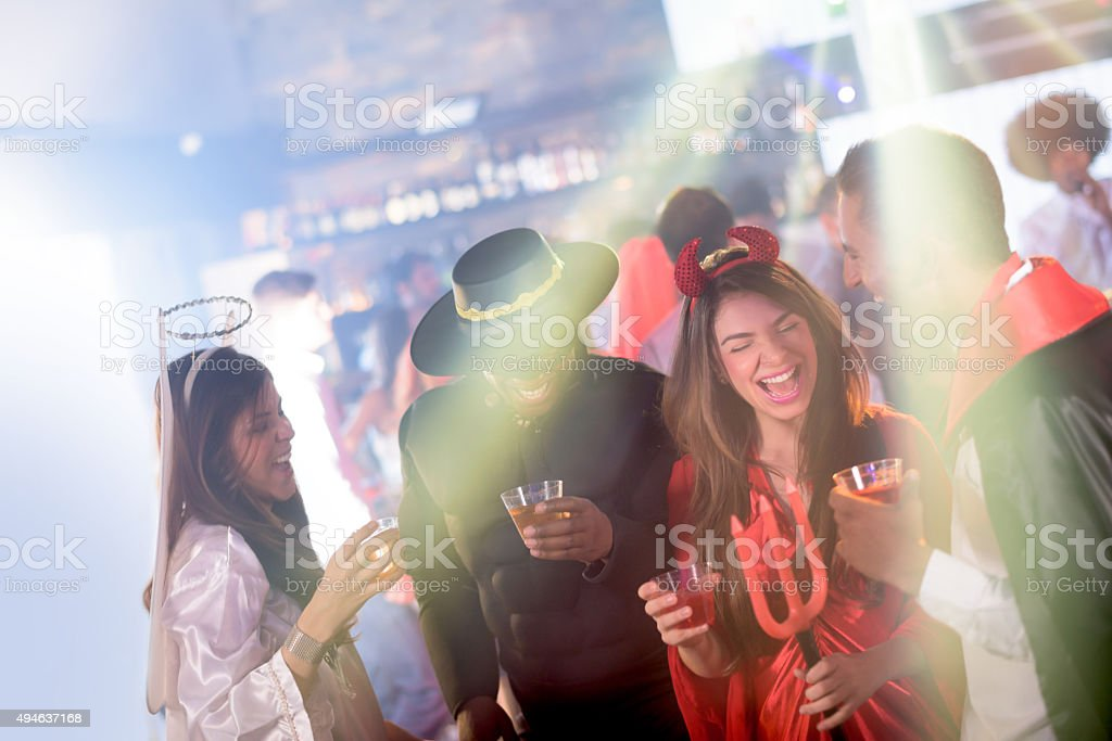 People partying in Halloween stock photo