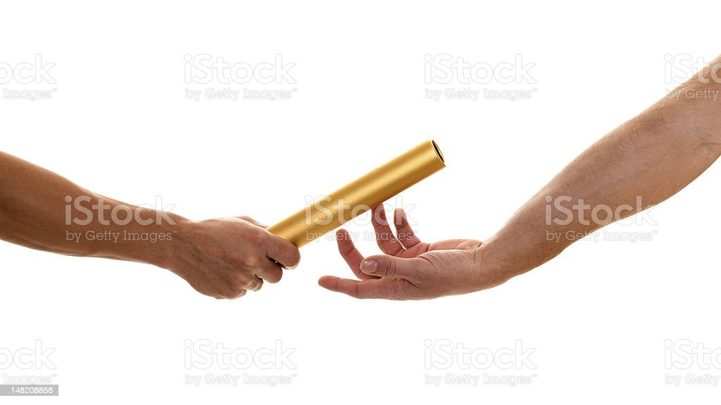 People passing a baton to each other over white background stock photo